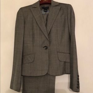 Ann Taylor Gray Wool Suit window pane design